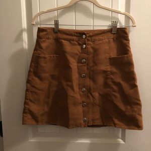 Brown Button Down Divided Skirt With Pockets
